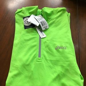 Asics NWT reflective green semifitted quarter zip